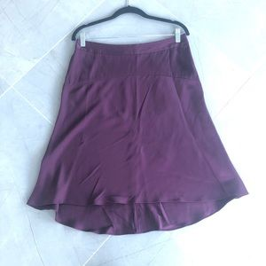 BANANA REPUBLIC Purple Silk High Low Skirt Sz 10p